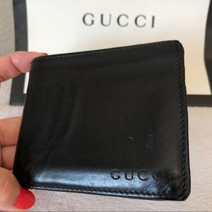 GUCCI Black Leather Men's Wallet Authentic